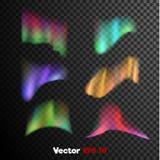 Vector реалистическое 3d северное, приполюсный свет на темной прозрачной предпосылке Стоковое Изображение RF