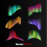 Vector реалистическое 3d северное, приполюсный свет на черной предпосылке Стоковое Изображение RF