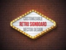 Vector ретро иллюстрация шильдика или lightbox с ориентированным на заказчика дизайном на предпосылке кирпичной стены Светлое зна иллюстрация штока