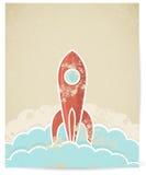 Vector ретро ракета с текстурой grunge Стоковые Фото