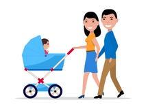 Vector родители пар с прогулочной коляской и ребенком Стоковое Изображение RF