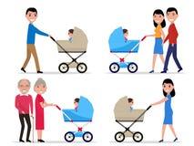 Vector родители характеров с прогулочной коляской ребенок Стоковое Изображение