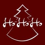 Vector рукописный текст HOHOHO и силуэт рождественской елки также вектор иллюстрации притяжки corel Стоковая Фотография