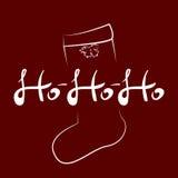 Vector рукописный текст HOHOHO и силуэт чулка рождества также вектор иллюстрации притяжки corel Стоковые Фотографии RF