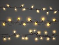 Vector света рождества, реалистические комплект гирлянды иллюстрация штока