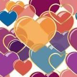 Vector сердца иллюстрации безшовные самоцветов в рамке золота Конструкция предпосылки романтичная для поздравительных открыток и Стоковые Фотографии RF