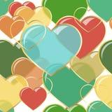 Vector сердца иллюстрации безшовные самоцветов в рамке золота Конструкция предпосылки романтичная для поздравительных открыток и иллюстрация штока