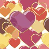 Vector сердца иллюстрации безшовные самоцветов в рамке золота Конструкция предпосылки романтичная для поздравительных открыток и Стоковые Изображения