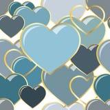 Vector сердца иллюстрации безшовные самоцветов в рамке золота Конструкция предпосылки романтичная для поздравительных открыток и Стоковая Фотография