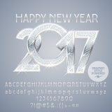 Vector серебряная шикарная счастливая Нового Года поздравительная открытка 2017 Стоковые Изображения