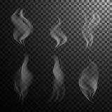 Vector серый реалистический дым на черной прозрачной предпосылке Стоковые Изображения