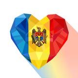 Vector сердце кристаллических ювелирных изделий самоцвета Moldavian с флагом Молдавии иллюстрация вектора