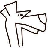 Vector силуэт собаки на белой предпосылке Стоковое Изображение