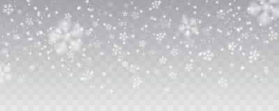 Vector сильный снегопад, снежинки в различных формах и формы Стоковые Фото