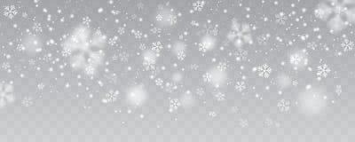 Vector сильный снегопад, снежинки в различных формах и формы Стоковая Фотография