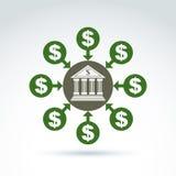 Vector символ банка, значок дохода денег, абстрактная иллюстрация Стоковые Фотографии RF
