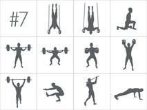 Vector силуэты людей делая разминки фитнеса и crossfit иллюстрация вектора
