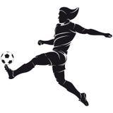 Vector силуэт игрока футбола (футбола) с ба Стоковые Фотографии RF