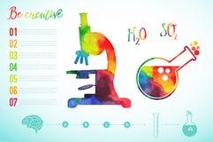 Vector силуэт микроскопа акварели, научная предпосылка, знак микроскопа Творческое исследование иллюстрация штока