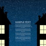 Vector силуэт дома на небе звезды Стоковое Изображение RF