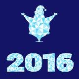 Vector силуэт Санта Клаус элементов дизайна, украшение 2016 Нового Года номера как кристаллическая структура изолированная на бел Стоковое Изображение