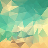 Vector скачками предпосылка полигона с картиной треугольника в ретро цвете - голубом, зеленый, бежевый, оранжевый, песок иллюстрация штока