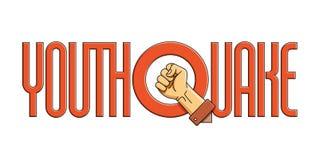 Vector слово Youthquake с сжатым кулаком на белой предпосылке Стоковая Фотография RF