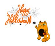 Vector смешная иллюстрация приветствию хеллоуина, шаблон карточки, литерность ` хеллоуина яркого оранжевого ` счастливая и милый  иллюстрация штока