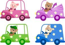 Иллюстрация икон смешного автомобиля установленная иллюстрация вектора