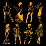 Vector собрание нарисованное рукой с иллюстрацией женщин в различной одежде Стоковое Изображение