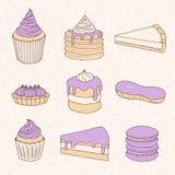 Vector собрание печенья тортов, пирогов, пирогов, булочек, macaron иллюстрация вектора