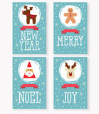 Vector собрание рождественских открыток, с Санта Клаусом, олени, человек пряника Стоковое Фото