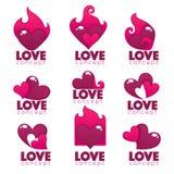 Vector собрание сердца, рук и логотипа влюбленности, концепции, ярлыков Стоковое Изображение