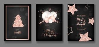 Vector собрание элегантных с Рождеством Христовым рождественских открыток с брошюрой 2019 Нового Года рогульки рождественской елк иллюстрация штока