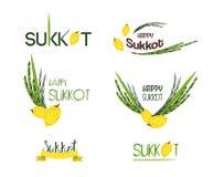 Vector собрание ярлыков для Sukkot, еврейского праздника Значки и значки иллюстрация штока