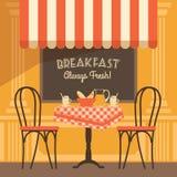 Vector современная плоская иллюстрация дизайна кафа улицы Стоковое Изображение