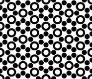 Vector современные безшовные священные круги картины геометрии, черно-белый конспект Стоковая Фотография