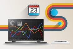Vector современный офис с коммерческими информациями и финансовым учетом Стоковое фото RF