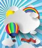 Vector солнечный свет иллюстрации на облаке с горячим воздушным шаром иллюстрация вектора