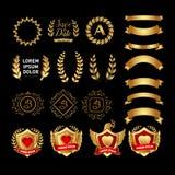 Vector средневековое золотое собрание лент и значков лавровых венков экранов иллюстрация иллюстрация вектора