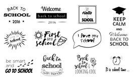 Vector стикеры школы, логотипы с элементами каллиграфии Стоковые Изображения