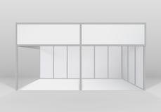 Vector стойка белой крытой торговой будочки выставки стандартная для представления изолированная с предпосылкой Стоковая Фотография RF