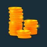 Vector столбцы монеток, денег, на черной предпосылке Стоковые Изображения RF