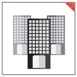 Vector строя комплект черноты графического городского городского пейзажа Стоковое Фото