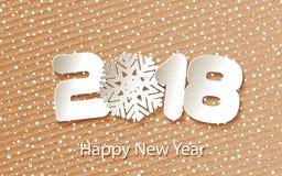 Vector счастливая предпосылка 2018 Нового Года с бумажными вырезываниями Стоковое Изображение RF