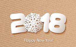 Vector счастливая предпосылка 2018 Нового Года с бумажными вырезываниями Стоковое Изображение