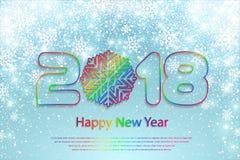 Vector счастливая предпосылка 2018 Нового Года с бумажными вырезываниями Стоковые Изображения