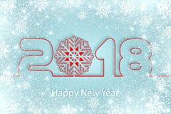 Vector счастливая предпосылка 2017 Нового Года с бумажными вырезываниями Стоковое Изображение