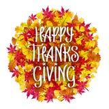 Vector счастливая рука благодарения помечая буквами над кучей листьев осени Стоковое Изображение RF