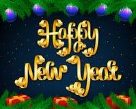 Vector счастливый состав литерности Нового Года сделанный золотого festi Стоковые Фото